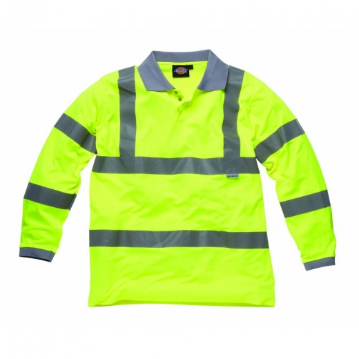 Dickies Hi Visibility Safety Long Sleeve Polo Shirt Saturn Yellow