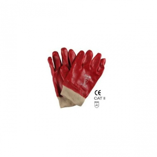 SWP PVC Knitwrist Gloves Red