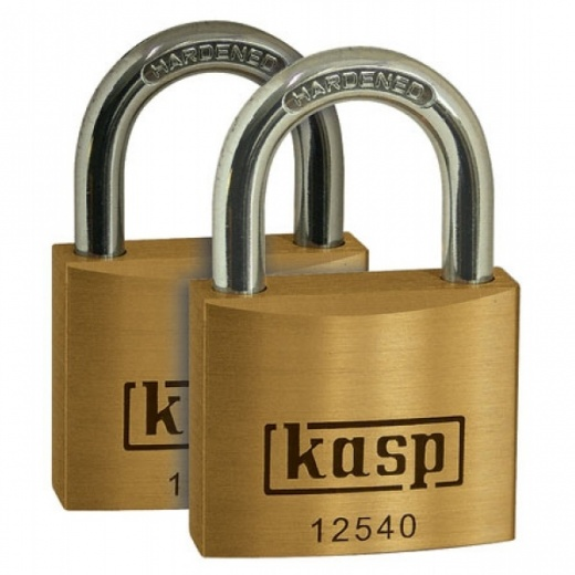 Kasp k12540d2 Premium brass Padlock 40mm Twin Pack Keyed Alike