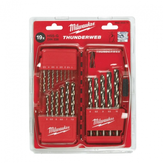 Milwaukee 4932352374 HSSG 19 piece thunderweb metal drill bit set