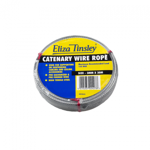 Eliza Tinsley 3829232 Steel Wire Rope 6mm thick 30 Metre Coil