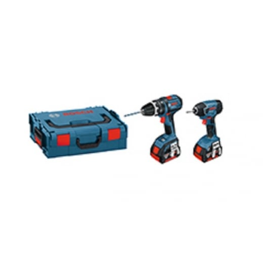 Bosch 18v Twin Pack GSB18 + GDR18 2 x 5.0amp Batteries Charger + L-boxx 0615990H95