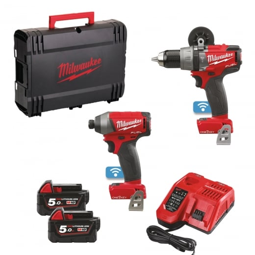 Milwaukee M18ONEPP2A-502X 18v Twin Pack One Key Fuel 2 x 5.0amp Batteries