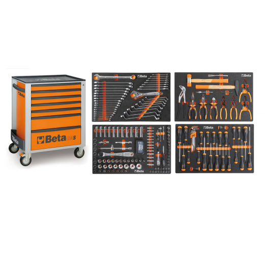 Beta Tools 2400S-O7 Roller Cab With 7 Drawers Orange With Tools