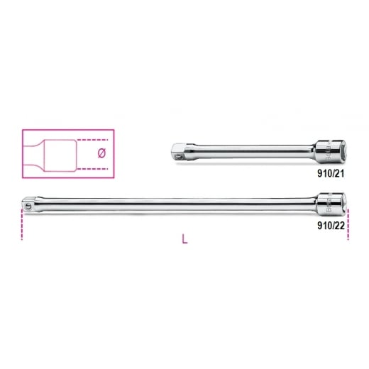 "Beta Tools 910/21 3/8"" Drive Extension Bar Different Lengths"