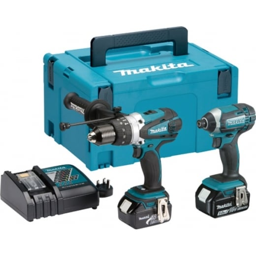 Makita DLX2145 18v Twin Pack DHP458 & DTD152 Batteries Charger + Makpac