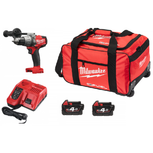 Milwaukee M18FPD-402B 18v Fuel Combi Drill With 2 x 4.0Ah Batteries, Charger & Bag