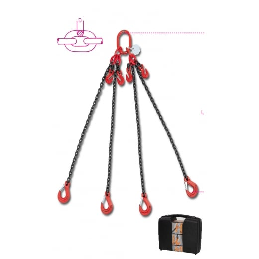Beta Tools 8098/2 Lifting Chain Sling 4 Legs With Grab Hooks In Plastic Case
