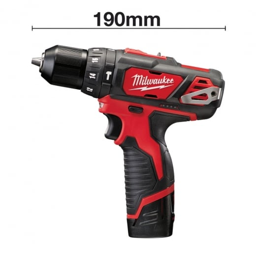 Milwaukee 12v M12BPD-202C Combi Drill 2 x 2.0Ah batteries Charger + Case