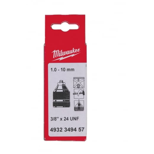 "Milwaukee Keyless Chuck 3/8""x24mm Thread 1-10mm Capacity"