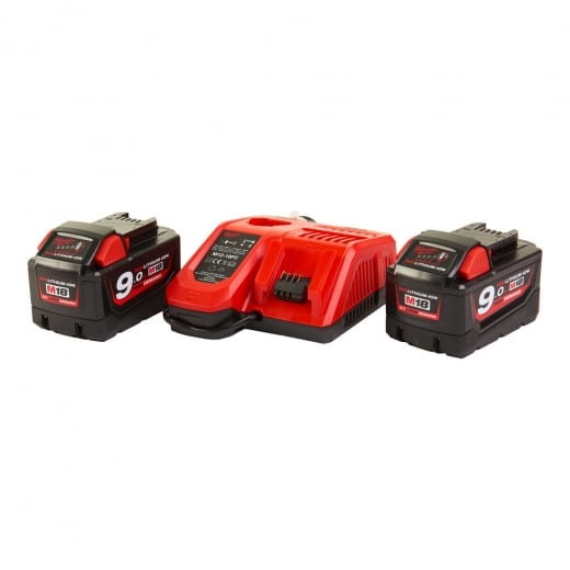 Milwaukee M18NRG-902 Battery & Charger Kit 2 x 9.0amp batteries + m12-18fc Charger