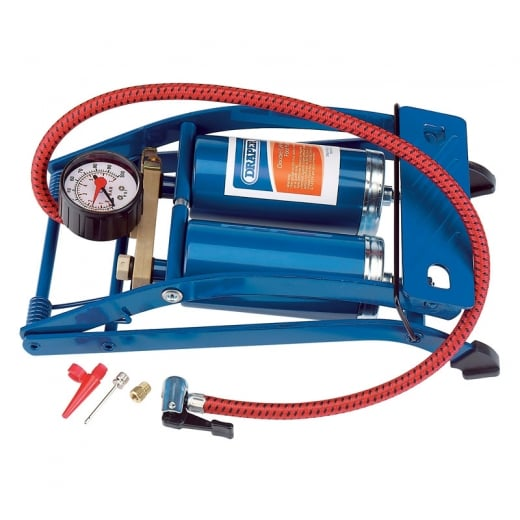 Draper Double Cylinder Foot Pump with Pressure Gauge