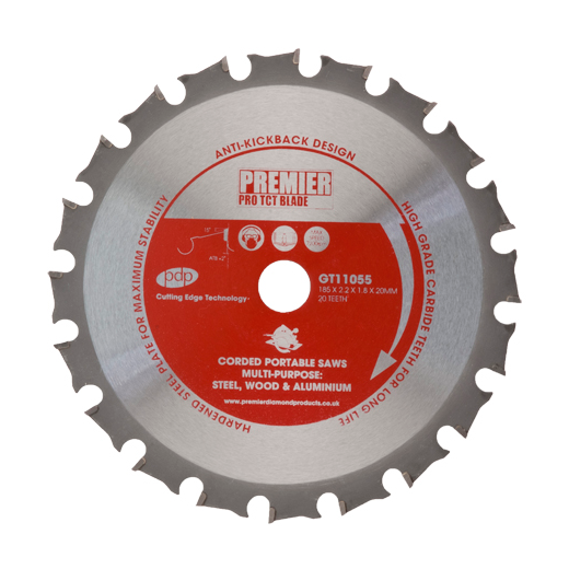 Premier Diamond Products GT11055 TCT Saw Blade 185x2.2x1.8x20mm 20 Teeth