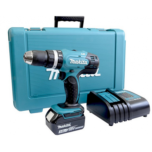 Makita DHP453SF 18v Combi Drill 1 x BL1830, Charger & Case