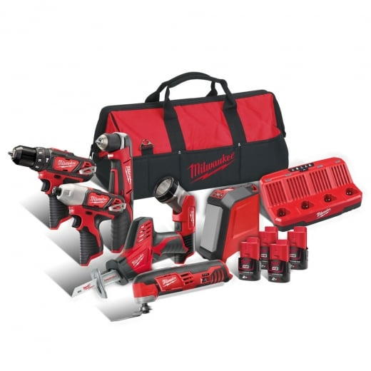 Milwaukee M12BPP7A-204B 12v 7 Piece Kit With 4 x Batteries