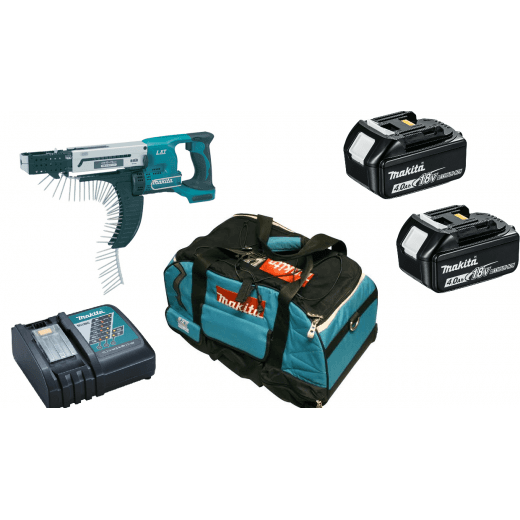 Makita DFR750RME 18v Auto Feed Screwdriver With 2 x BL1840 Batteries, Charger, Bag