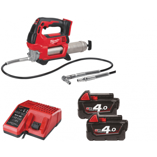 Milwaukee M18GG-402B 18v Grease Gun With 2 x 4.0Ah Batteries, Charger and Bag
