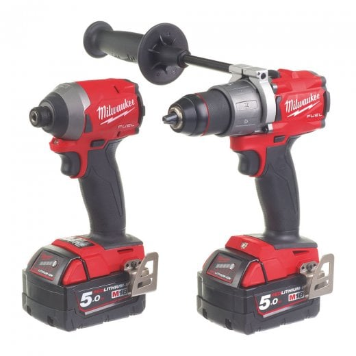 Milwaukee M18FPP2A2-502X 18v Gen II Twin Pack Combi Drill & Impact Driver In Bag