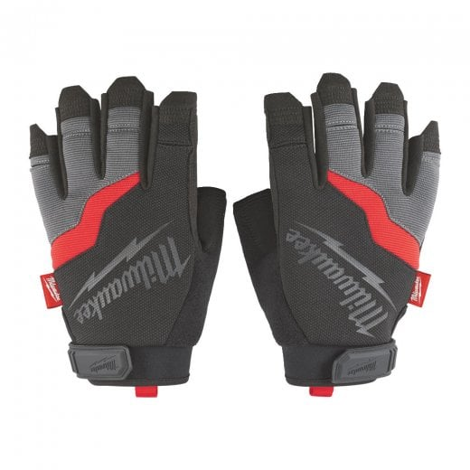Milwaukee Fingerless Work Gloves With Velcro Fastening