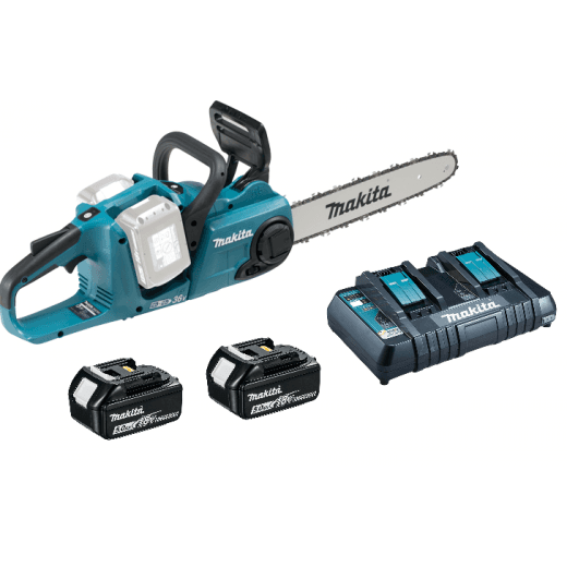 Makita DUC353PT2 Twin 18v 36v Cordless Chainsaw 2 x 5.0ah Batteries & DC18RD Charger