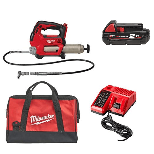 Milwaukee M18GG-201B 18v Grease Gun With 1 x 2.0Ah Battery, Charger & Bag