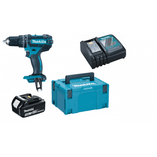 Makita DHP482M1J 18v Combi Drill 1 x 4 0Ah Battery, Charger & Makpac Case