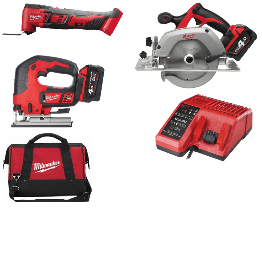Milwaukee 18v Cordless Woodworkingkit M18 M18BMT, HD18CS, M18BJS 2 Batteries Charger + Bag