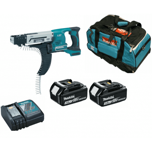 Makita DFR550RFE 18v Cordless AutoFeed Screwdriver 2 x 3.0Ah Batteries, Charger, Bag