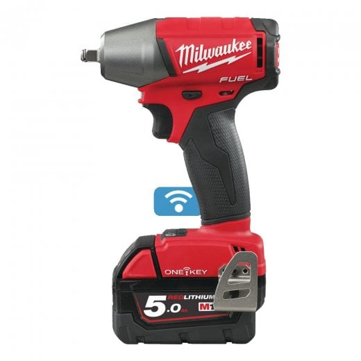Milwaukee M18ONEIWF38-502X 18v 3/8 Cordless Impact Wrench 2 x 5.0ah Batteries Charger + Case