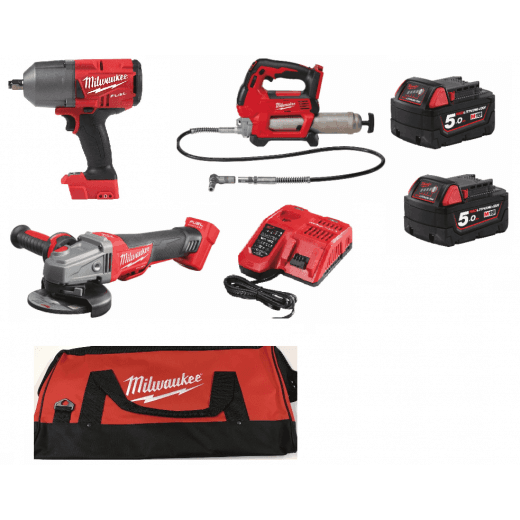 "Milwaukee 3 Piece Farmer Kit, M18GG Grease Gun, M18CAG115XPDB Angle Grinder, 1/2"" Impact Wrench M18FHIWF12"