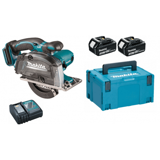 Makita DCS553RFE 18v Metal Cutting Saw With 2 x BL1830, Charger, Case