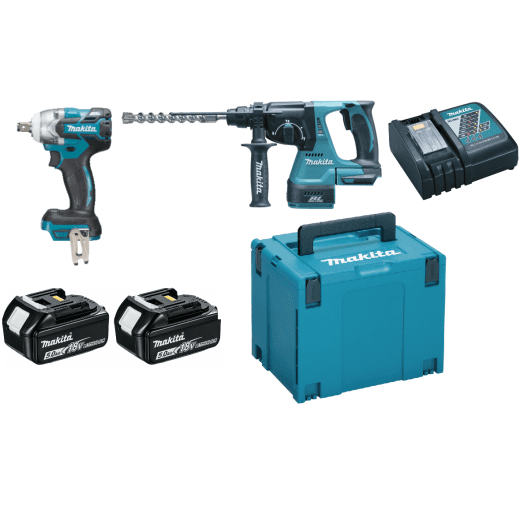 Makita DLX2268TJ 18v Twin Pack DTW285 Impact Wrench & DHR242 Hammer Drill