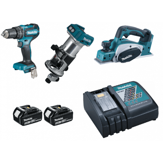 Makita DLX3116TJ 18v Combi Drill, Planer & Trimmer Kit