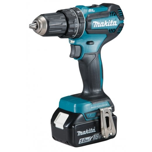 Makita DHP485RTJ 18v Brushless Combi Drill With 2 x 5.0Ah Batteries, Charger, Case