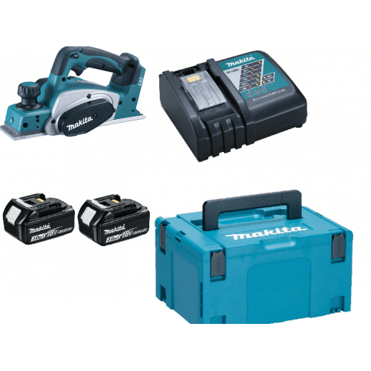 Makita DKP180RFE 18v Planer With 2 x BL1830 Batteries, Charger & Case