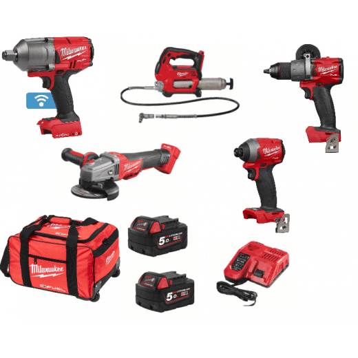 "Milwaukee Farming Kit 5 Piece 3/4"" Impact Wrench, Grinder, Grease Gun, Drill, Impact Driver"