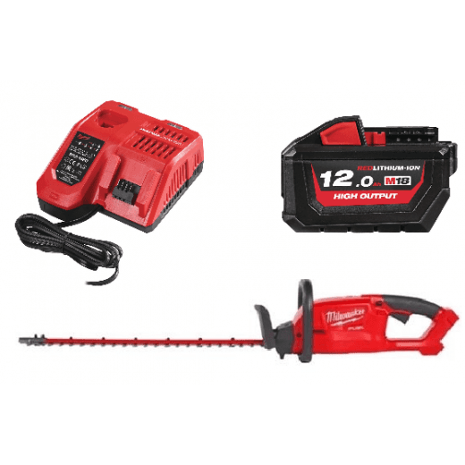 Milwaukee M18CHT-0 18v Hedgetrimmer With Fast Charger and 12.0Ah Battery