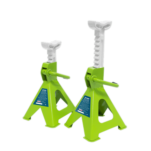 Sealey VS2002HV Axle Stands (Pair) 2tonne per Stand Hi Vis Green