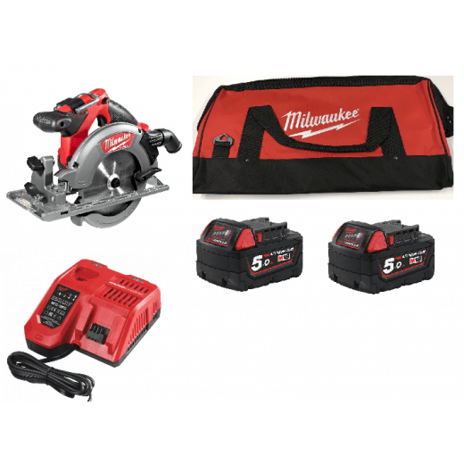 Milwaukee M18CCS55-502B 18v Cordless Circular Saw 2 X 5.0Ah Batteries, Charger, Bag