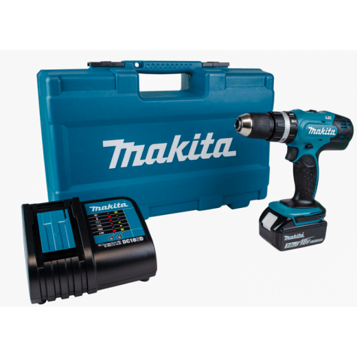 Makita DHP453FX12 18v Combi Drill With 1 x 3.0Ah Battery, Charger & Accessories