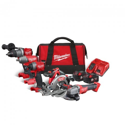 Milwaukee M18FPP5M-502B 18v 5 Piece Cordless Combo Tool Kit In Carrying Bag