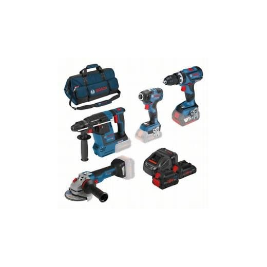 Bosch 18v 4 Piece Cordless Tool Set 3 Batteries Charger + Bag