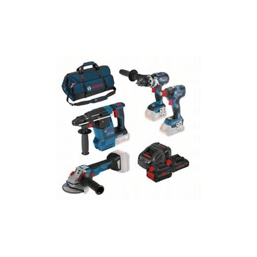 Bosch 18v Cordless 4 Piece Tool Set 3 Batteries Charger + Bag