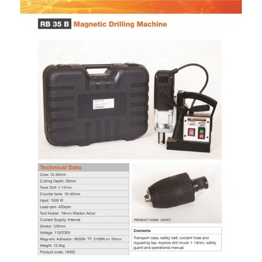 Alfra RB35B 110v 35mm Magnetic Drill In Carry Case