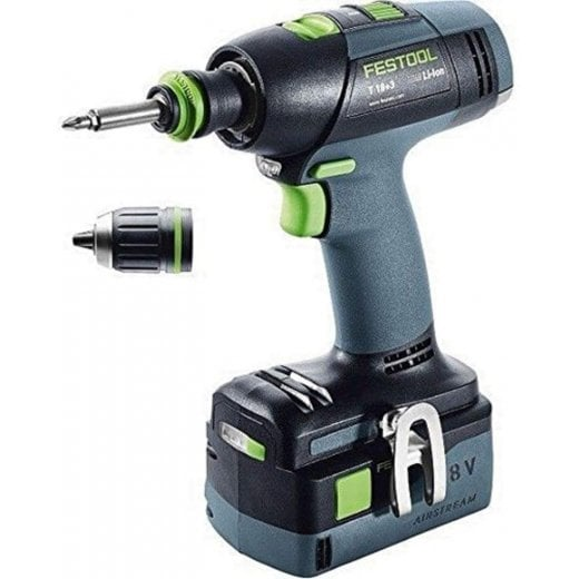 Festool T18+3Li 18v Cordless Drill 2 x 5,2 ah Batteries, Charger + Systainer