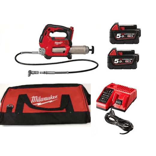Milwaukee M18GG-502X 18v Grease Gun With 2 x M18B5 Batteries, Charger and Bag