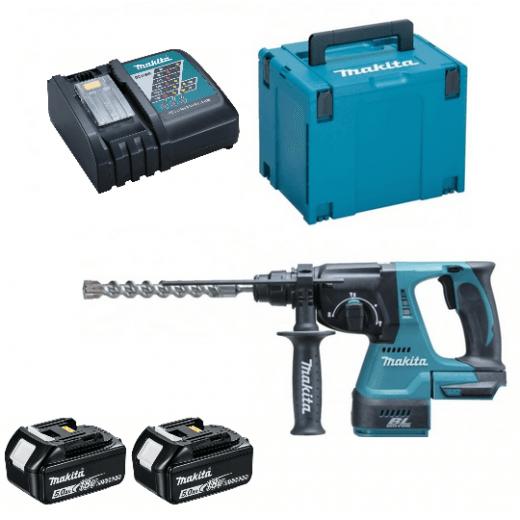 Makita DHR242RTJ 18v SDS Hammer Drill 2 x 5.0Ah Batteries, Charger