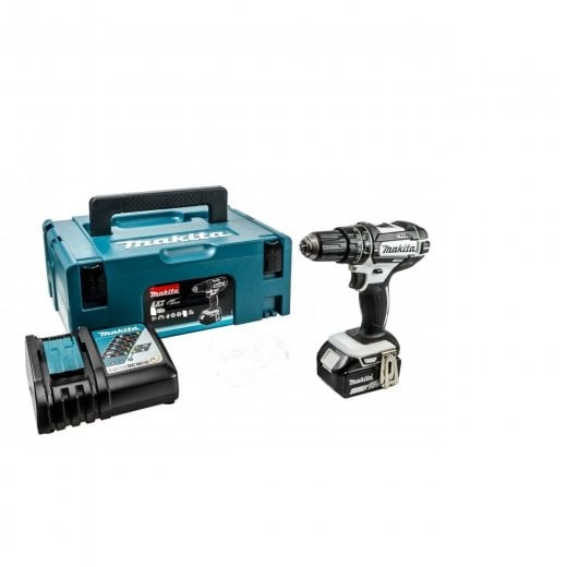 Makita DHP482TIJW 18v Cordless Combi Drill White 1 x 5.0ah Battery + Charger