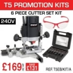 T5EB/KIT/A 1000W Router 240v With 6 Piece Cutter Set & Safety Specs