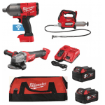 "3 Piece Farmer Kit 3/4"" Impact Wrench, Grease Gun & Angle Grinder"
